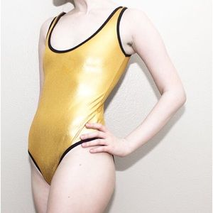gold american apparel bodysuit.